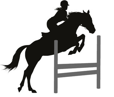 Female riding horse and jumping silhouette